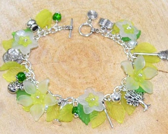 Season of the Witch Bracelet  - To celebrate Spring, Imbolc, Ostara.  With Daffodils and Daisies.