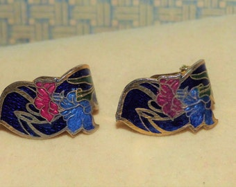Vintage Asian Style Cloisonne Inlay Clip-on Earrings 80s