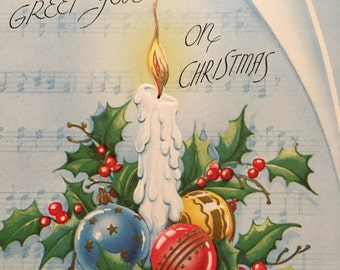 Christmas Card, Vintage, Unused, NOS, Candles, 1950s