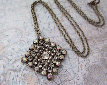 Diamond Shape Crystal Mixed Metals Beaded  Mosaic Handmade Necklace, Silver Filigree, Antique Brass, Rhinestone Chain, 18 inches Long