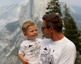 Daddy and Me Tshirt Set Adventure Boy Baby Shirt Mountain Outdoorsman Forest Cabin Life Roadtrip Hiking Camping Tee Shirt