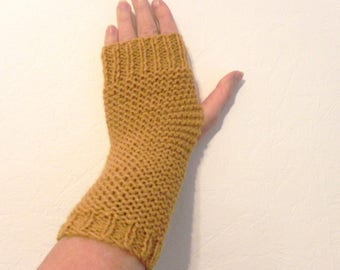 wool and mohair mustard yellow fingerless gloves hand knitted mittens women trendy winter fashion accessories