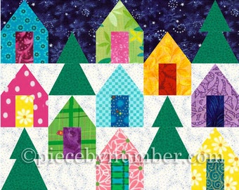 Cozy Cabins quilt block pattern, paper pieced quilt patterns, instant download PDF, house patterns, house quilt patterns, holiday patterns