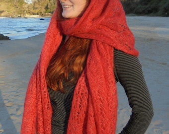 Knitted shawl in Debbie Bliss Angel, silk and mohair yarn