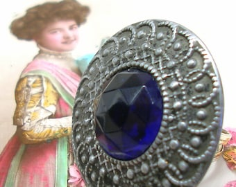 1890s Antique BUTTON ring, Victorian blue glass & metal on adjustable sterling band. One of a kind jewellery.