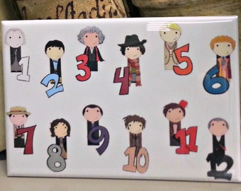 Count with the Doctors refrigerator magnet Doctor Who fan art