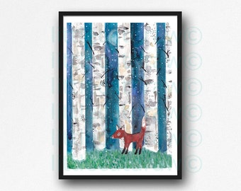 Fox In The Birch Forest Watercolor Painting Print Collage Print Fox Animal Painting Birch Trees Art Fox Print Wall Art Wall Decor Unframed