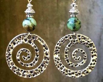 Turquoise Earrings, Bohemian Earrings, Silver Earrings, Rustic Earrings, Boho Jewelry, Gift for Her