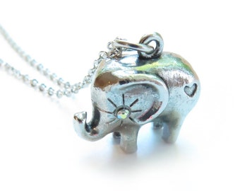 Love for Elephants Silver Necklace