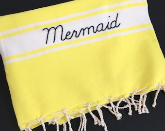 "Fouta jaune fluo ""Mermaid"""