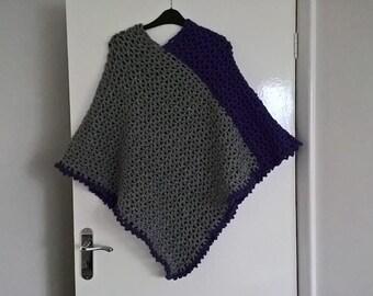 Hand Crochet Any Way Round Ladies Crochet Poncho Purple/Grey