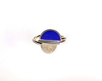14k Pave Diamond Lapis Lazuli Moon Ring