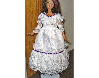 Barbie Dress White Eyelet and Lace with Purple Bead Trim