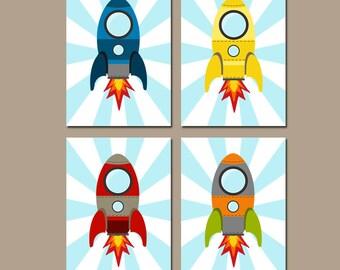 ROCKET SHIP Wall Art, Baby Boy Nursery Decor, Big Boy Bedroom Wall Decor, CANVAS or Prints Rocket Space Theme Outer Space Rockets Set of 4