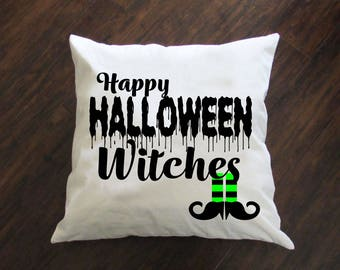 Happy Halloween Witches Pillow - Throw Pillow - Accent Pillow with Zipper Closure - 18 x 18 Throw Pillow - 24x24 Pillow - Home Decor