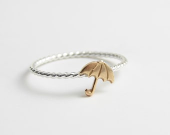 Tiny Umbrella Ring. Stacking Ring. Baby Shower. Made to order. Simple Modern Everyday Jewelry ~ Valentine's Day