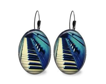 Piano Keys Oval Earrings