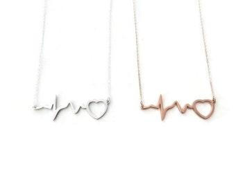 Nurse Gift Heartbeat Necklace - EKG necklace, Heart Beat Necklace, Heart Pulse necklace, Nurse Necklace, Nurse gift, Silver Rosegold on Ster