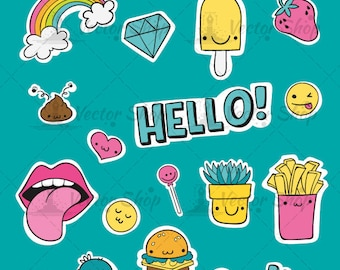 Vector Sticker Collection pack of 18 items