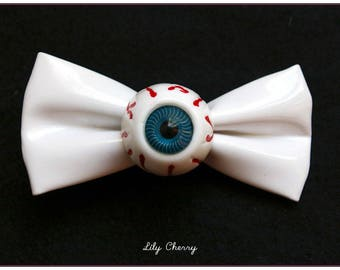 Pale pink bow hair clip in sky with eye blue pinup rockabilly x 1