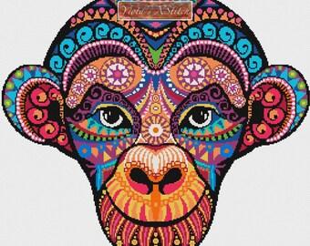 Abstract cross stitch kit - Rainbow tribal monkey- modern counted cross stitch kit