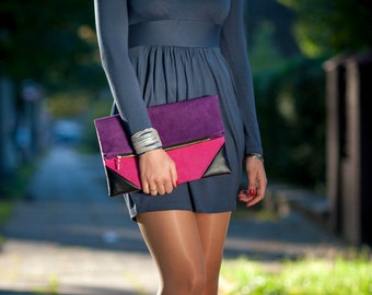 Fold over clutch in the Color of Your Choice