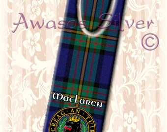 Metal bookmark with high quality printed original images. Clan MacLaren badge and Tartan on high quality metal bookmark.