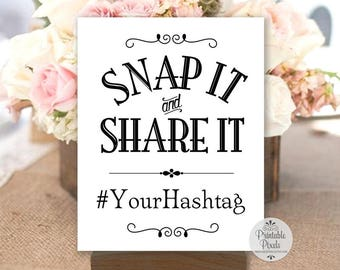 Printable Social Media Sign, Black Lettering, Hashtag Sign, Instagram, Snap It and Share It, Wedding, Party, Business (#SOC6B)