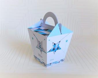 Box lozenge theme customizable stars line blue and white