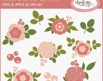 50%OFF Shabby rose clip art, rose bouquet clip art, rose leaves botanical clip art for commercial use, C301