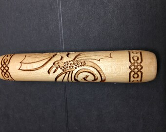 WD  CELTIC Flying DRAGON embossed Texture Wood Roller Rolling Pin Tile