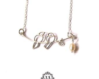 Love Bird Pearl Necklace