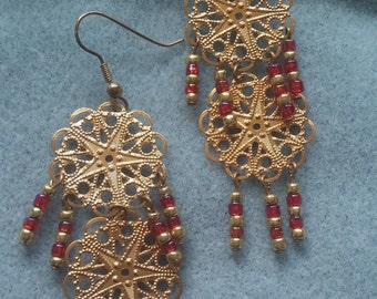 Gold and Red Filigree Double Drop Earrings