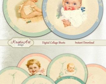 75% OFF SALE Babies - Digital Collage Sheet - Baby Boy - Baby Girl - Digital cards C157 printable download Love round image kids atc card