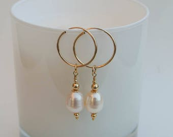 Byzantine Gold Pearl Drop Hoop Earrings - 14K Gold Filled Hoops and Ivory White Freshwater Pearl Drop Earrings in a Byzantine Style