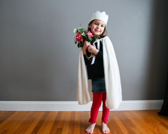 Handmade Good Witch Cape and Crown White Kids Child Children  Princess Cape Crushed Velvet