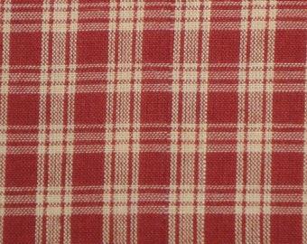 Plaid Fabric | Basic Plaid Wine Cotton Homespun Fabric |  Rag Quilt Fabric
