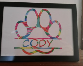 Split Paw Print with Dogs Name