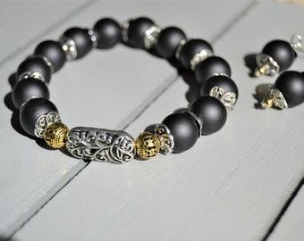 MATTE BLACK BRACELET Stretch Beaded Bracelet Matching Earrings Filigree Focal Beads