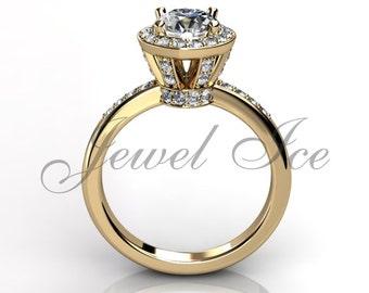 Engagement Ring - 14k Yellow Gold Diamond Engagement Ring Bridal Ring Wedding Ring Anniversary Ring ER-1031-2