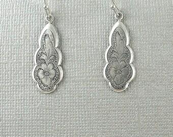 Antique Silver Earrings, Earrings,  Bohemian Dangle Jewelry, Ethnic Tribal Earrings, Gypsy Earrings, Vintage Style, Etched Earrings