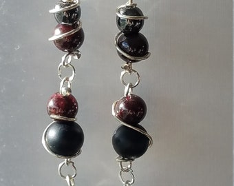 Garnet, Hematite and Onyx Earrings