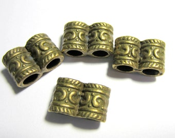 24 Double hole Bronze beads antique boho ethnic 15mm x 9mm craft jewelry supplies 7568 (Y2)