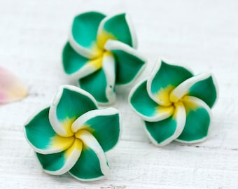 Green Flower Beads, 15 pcs, 20mm, Small Flower Beads, Fimo Flower, Clay Beads -B110