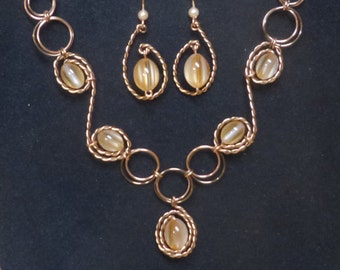Copper Wire Twisted with Antique Bronze Wire Wrap Peach Color Cat's Eye Necklace Earring Set 100% Hand Crafted