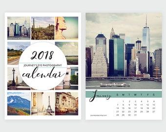 2018 calendar, desk calendar, photo calendar, 5x7 calendar, 4x6 calendar, travel, photo calendar, Journeys Eye, mini calendar, office decor