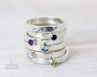 Birthstone Gemstone Sterling Silver Stack Rings, Handmade Personalized Jewelry, Delicate Stacking Rings, Gift for Her, Christina Guenther