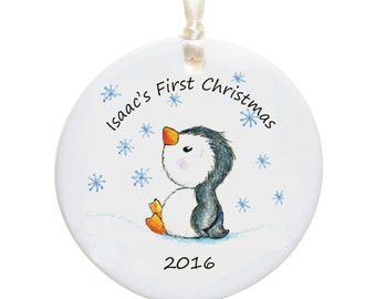 Baby's First Christmas Personalised Christmas Bauble -  New Baby - Personalized Name Ceramic Christmas Tree Decoration - Holiday Ornament