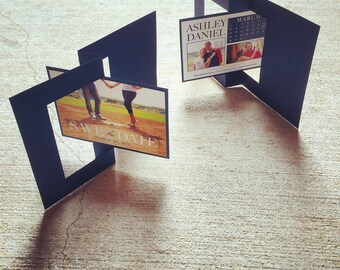 SAMPLE 5x7 Navy Blue and Lime Green Twist Card Save The Date with Multiple Photos and Calendar