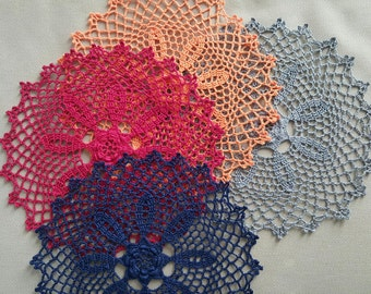 "Handmade crochet doily, blue, burgundy (red), orange with flower in the center 8"", Christmas Sale 30% off"